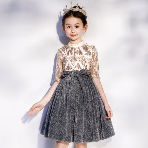Moda Oro Gris Cumpleaños Vestidos para niñas 2020 A-Line / Princess Cuello Alto 1/2 Ærmer Cinturón Glitter Poliéster Lentejuelas Tassel Cortos Ruffle