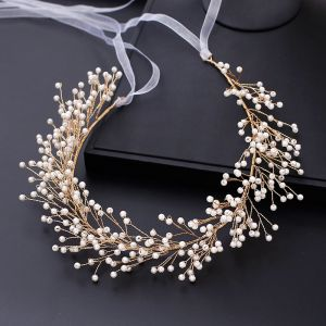 Fabulous Gold Headbands Bridal Hair Accessories 2020 Alloy Lace-up Pearl Wedding Headpieces