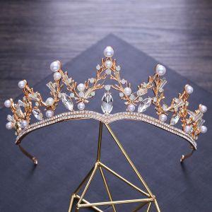 Modest / Simple Gold Metal Tiara Bridal Jewelry 2018 Crystal Pearl Rhinestone Wedding Accessories