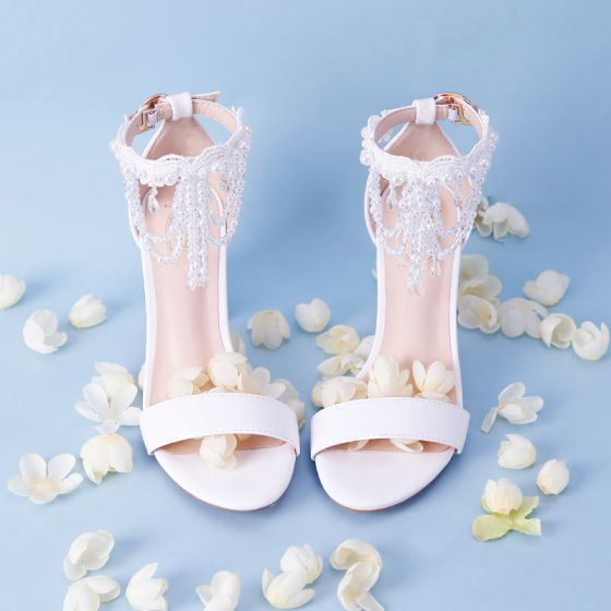 Lovely White Beach Office Beading Crystal Pearl Womens Sandals 2018