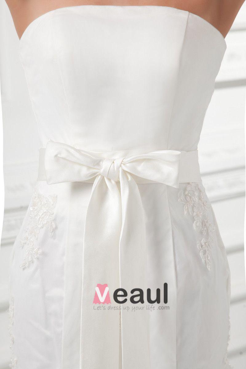 Tulle Applique Beading Bow Strapless Court Train Mermaid Wedding Dress