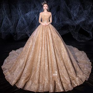 Sparkly Champagne See-through Wedding Dresses 2020 Ball Gown Square Neckline Long Sleeve Backless Glitter Tulle Sequins Beading Royal Train Ruffle