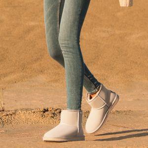 Schlicht Ivory / Creme Schneestiefel 2020 Wasserdichte Leder Ankle Boots Winter Flache Freizeit Runde Zeh Stiefel Damen