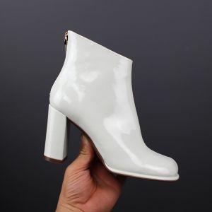 Fine Hvit Casual Patent Lær Kvinners støvler 2019 Lær 8 cm Tykk Hæler Rund Tå Boots