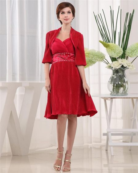 Sweetheart Short Sleeve Zipper Beading Two Piece Knee Length Charmeuse Mother of the Bride Dress