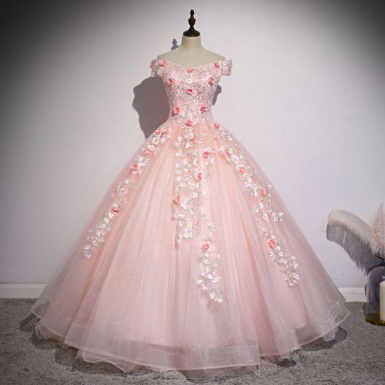 Chic / Belle Rougissant Rose Robe De Bal 2020 Robe Boule De l'épaule Perlage Perle Appliques En Dentelle Fleur Manches Courtes Dos Nu Longue Robe De Ceremonie