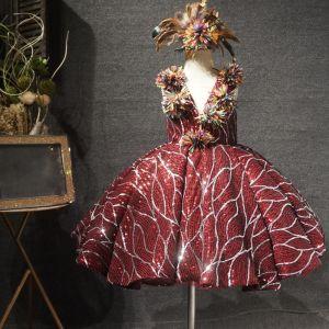 Sparkly Burgundy Birthday Flower Girl Dresses 2020 Ball Gown See-through Deep V-Neck Sleeveless Sequins Flower Short Wedding Party Dresses