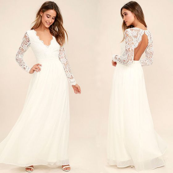 Chic / Beautiful Ivory Chiffon Maxi Dresses 2018 A-Line / Princess V-Neck Long Sleeve Ankle Length Ruffle Backless Womens Clothing