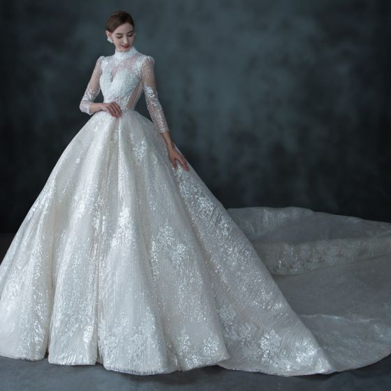 Illusion Champagne See-through Bridal Wedding Dresses 2021 Ball Gown High Neck 3/4 Sleeve Backless Handmade  Beading Sequins Cathedral Train Ruffle