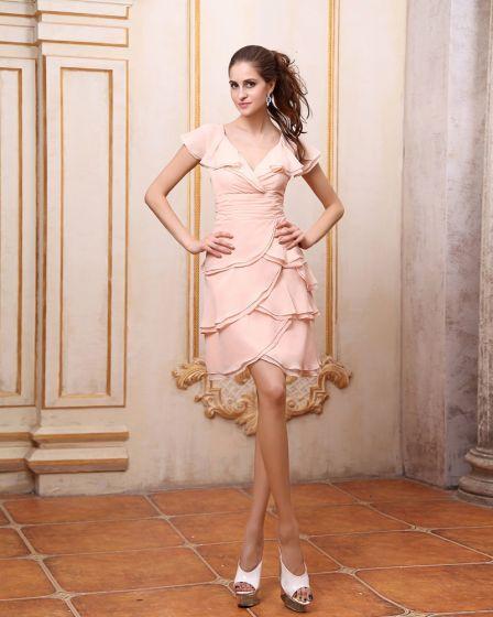 Knee Length Chiffon V Neck Cap Sleeves Bridesmaid Dress