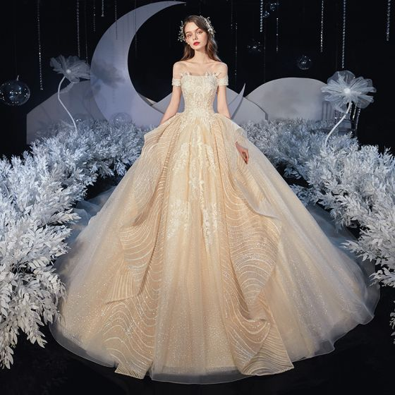 Elegant Champagne Bridal Wedding Dresses 2020 Ball Gown Off-The-Shoulder Short Sleeve Backless Appliques Lace Sequins Glitter Tulle Cathedral Train Ruffle