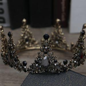 Vintage Barok Zwarte Bruidssieraden 2019 Metaal Tiara Kwast Oorbellen Rhinestone Huwelijk Accessoires