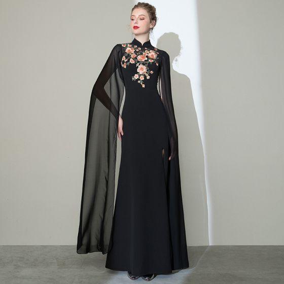 Chinese style Black Evening Dresses  2020 Trumpet / Mermaid High Neck Appliques Lace Short Sleeve Split Front Floor-Length / Long Formal Dresses