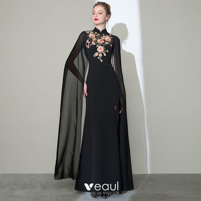 Chinese Style Black Evening Dresses 2020 Trumpet Mermaid High Neck Appliques Lace Short Sleeve Split Front Floor Length Long Formal Dresses