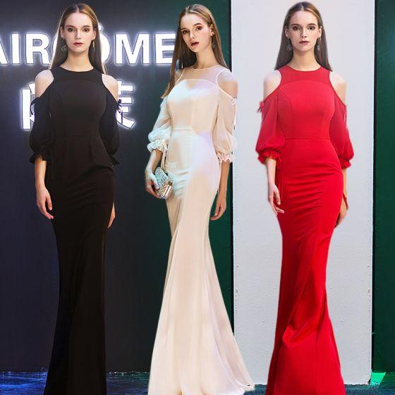 Modern / Fashion Evening Dresses  2019 Trumpet / Mermaid Scoop Neck Puffy 3/4 Sleeve Floor-Length / Long Ruffle Backless Formal Dresses