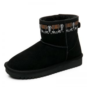 Modern / Fashion Womens Boots 2017 Black Leather Ankle Suede Embroidered Casual Winter Flat Snow Boots