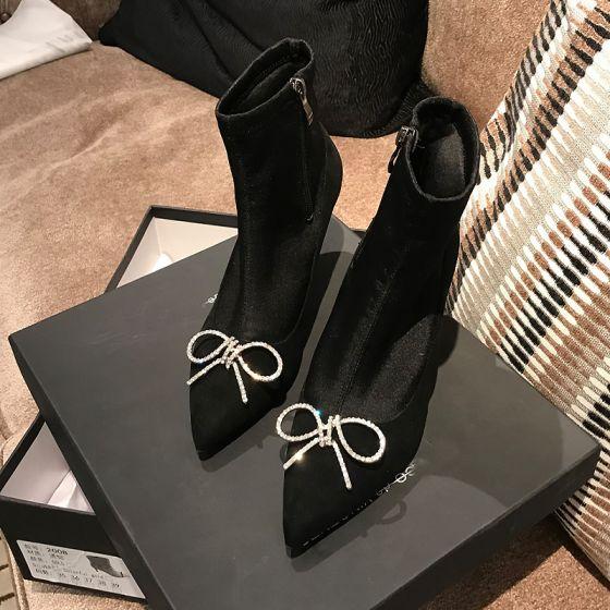 Piękne Czarne Zużycie ulicy Buty Damskie 2020 Rhinestone Kokarda 9 cm Szpilki Szpiczaste Boots