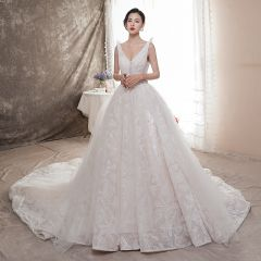 Best Champagne Wedding Dresses 2019 A-Line / Princess Deep V-Neck Sleeveless Backless Appliques Lace Beading Chapel Train Ruffle