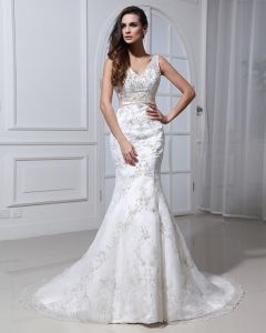 Lace Beading Applique V Neck Court Mermaid Bridal Gown Wedding Dresses