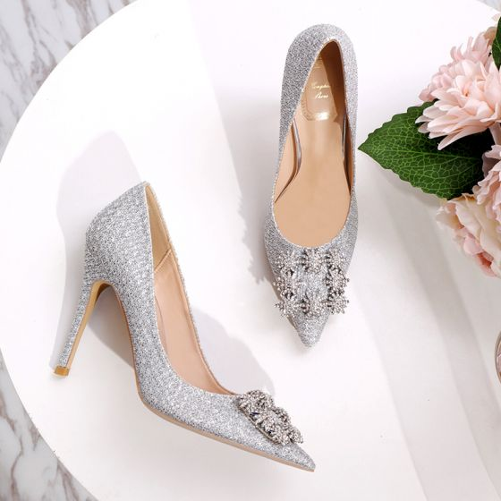 Charmant Zilveren Rhinestone Bruidsschoenen 2020 Pailletten 10 cm Naaldhakken / Stiletto Spitse Neus Huwelijk Pumps