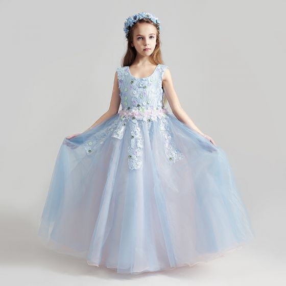 Chic / Beautiful Sky Blue Flower Girl Dresses 2017 Ball Gown Scoop Neck Sleeveless Appliques Lace Flower Floor-Length / Long Ruffle Wedding Party Dresses