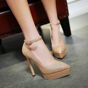 Sexy Doré Promo Chaussures Femmes 2018 Paillettes Bride Cheville 13 cm Talons Aiguilles À Bout Pointu Escarpins