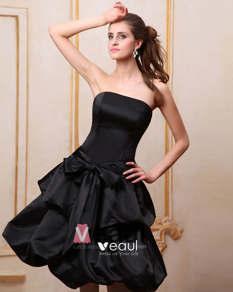 Strapless Sleeveless Ruffles Satin Knee Length Bridesmaid Dresses