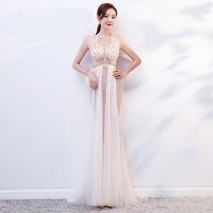 Sexy White See-through Summer Evening Dresses  2019 Trumpet / Mermaid Scoop Neck Sleeveless Beading Floor-Length / Long Ruffle Backless Formal Dresses