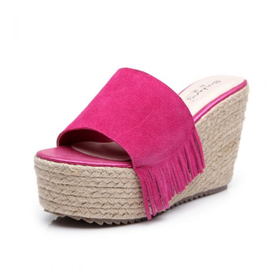 Chic / Beautiful Outdoor / Garden Womens Sandals 2017 PU Tassel Braid