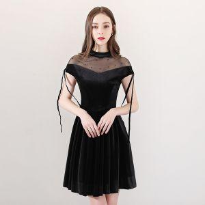 Moderne / Mode Noire Transparentes Robe De Fete 2018 Princesse Col Haut Manches Courtes Perle Gland Courte Volants Robe De Ceremonie