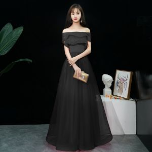 Affordable Black Evening Dresses  2019 A-Line / Princess Off-The-Shoulder Short Sleeve Floor-Length / Long Ruffle Backless Formal Dresses
