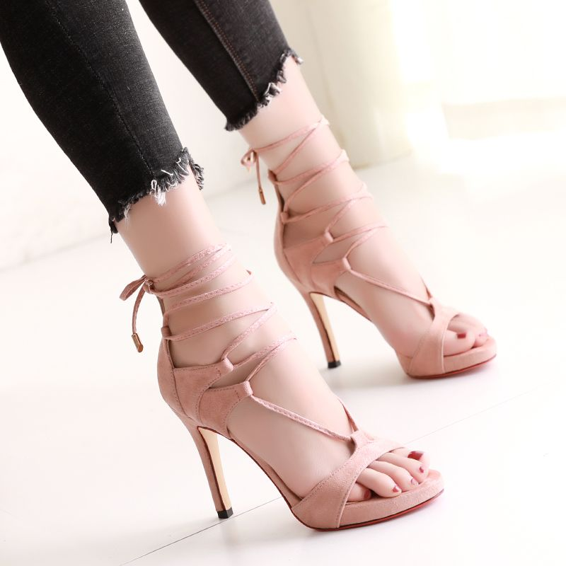 Sexy Cocktail Party Womens Shoes 2017 PU Strappy High Heel Open / Peep Toe Pumps