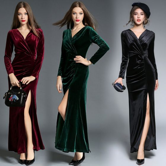 Sexy Dark Green Maxi Dresses 2018 Trumpet / Mermaid Suede Split Front V-Neck Long Sleeve Ankle Length Womens Clothing