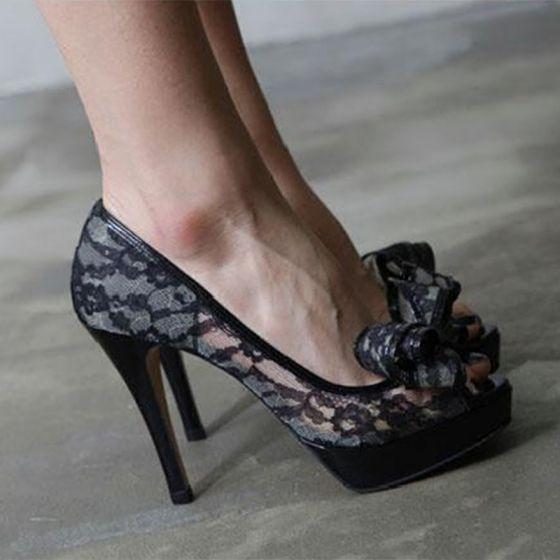 Sexy Noire Chaussures Femmes 2018 Transparentes Cuir En Dentelle Noeud 10  cm Talons Aiguilles Peep Toes