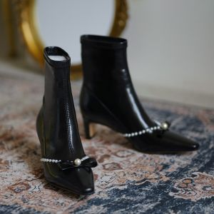 Modest / Simple Black Street Wear Pearl Bow Womens Boots 2020 Leather 5 cm Thick Heels Pointed Toe Boots