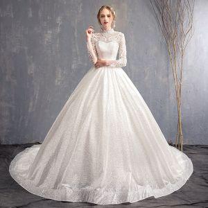 Eleganckie Białe Suknie Ślubne 2018 Princessa Aplikacje Z Koronki Wysokiej Szyi Bez Pleców Długie Rękawy Trenem Kaplica Ślub