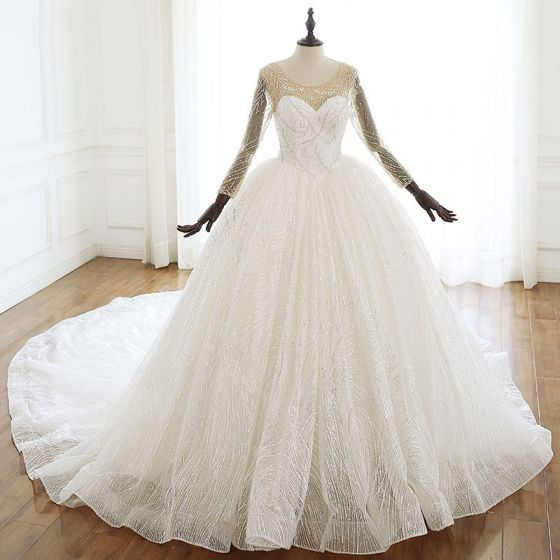 Luxury / Gorgeous Ivory Wedding Dresses 2020 Ball Gown Scoop Neck Beading Lace Rhinestone Sequins Long Sleeve Backless Cathedral Train