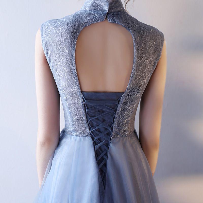 Chic / Beautiful Graduation Dresses 2017 Lace Appliques Sequins Pearl V-Neck Sleeveless Ocean Blue Tea-length A-Line / Princess