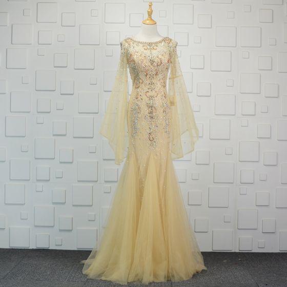 Luksusowe Szampan Wykonany Ręcznie Frezowanie Sukienki Wieczorowe 2019 Syrena / Rozkloszowane Kryształ Rhinestone Cekiny Wycięciem Rękawy z dzwoneczkami Trenem Sweep Sukienki Wizytowe
