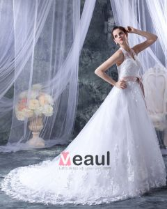 Satinband Spitze Halter Sweep Bridal Ballkleid Brautkleid