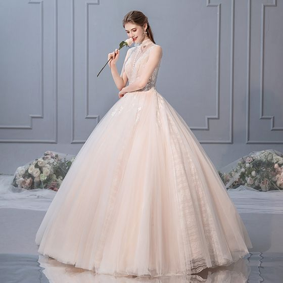 Chic / Beautiful Champagne Wedding Dresses 2019 Ball Gown High Neck Beading Sequins Lace Flower Sleeveless Backless Pearl Floor-Length / Long