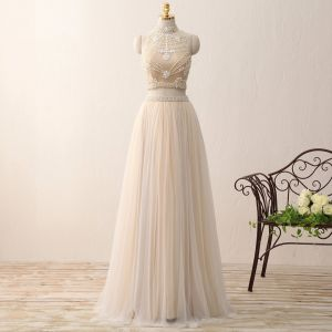 2 Piece Bohemia Champagne Prom Dresses 2017 A-Line / Princess High Neck Sleeveless Beading Ruffle Tulle Floor-Length / Long Formal Dresses