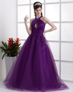 Ball Gown Satin Yarn Ruffle Halter Floor Length Quinceanera Prom Dress
