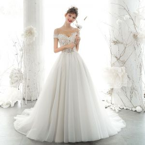 Elegant Ivory Wedding Dresses 2020 A-Line / Princess Scoop Neck Beading Pearl Rhinestone Lace Flower Short Sleeve Backless Chapel Train