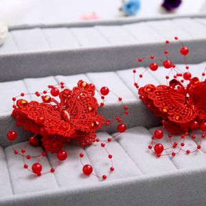 Red Lace Handmade Flowers Butterfly Pearl Bridal Headdress / Hairpin / Red Cheongsam Accessories