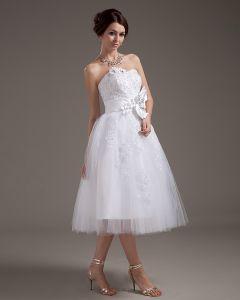 Genou Longueur Tulle Floraux Coudre Des Perles Artisanales Fleurs Robes De Mariée