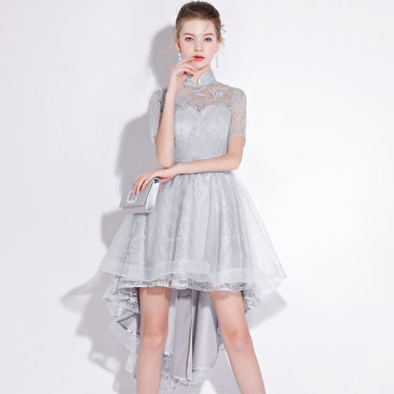 Chic / Beautiful Silver Cocktail Dresses 2018 A-Line / Princess Lace Flower Sash Sequins High Neck Short Sleeve Asymmetrical Formal Dresses