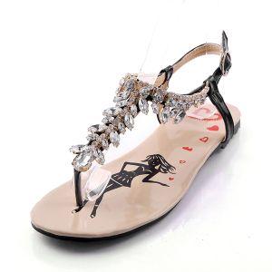 Sandales Mode Simili-cuir Chaussures De Dames D'été Avec Cristal
