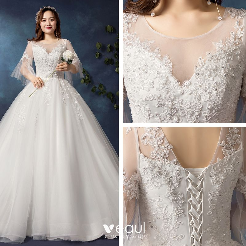 Modest / Simple White Plus Size Wedding Dresses 2019 Tulle Appliques  Backless Beading Handmade Chapel Train