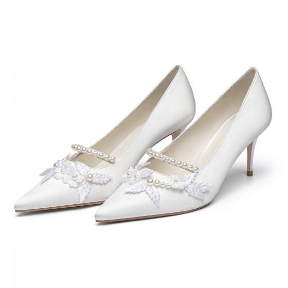 Élégant Ivoire Perle Chaussure De Mariée 2021 Cuir 7 cm Talons Aiguilles À Bout Pointu Mariage Escarpins Talons Hauts